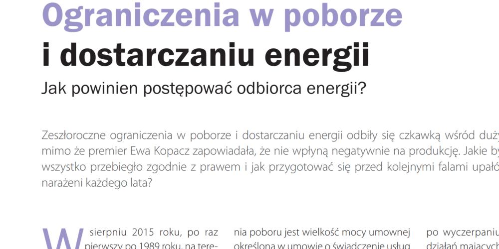 Ograniczenia wpoborze idostarczaniu energii elektrycznej