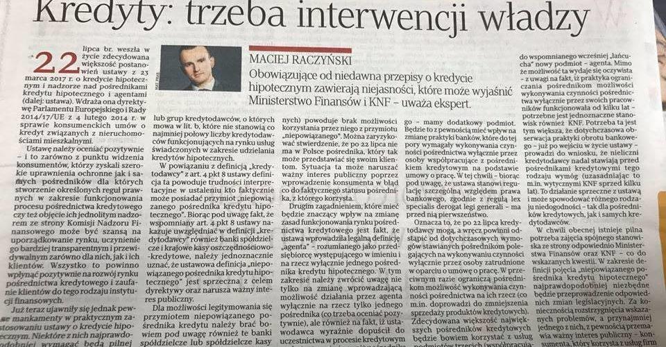 Rzeczpospolita cytuje komentarz Mec. Raczyńskiego do ustawy o kredycie hipotecznym