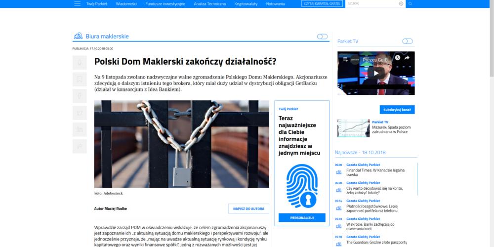 Komentarz Mec. Macieja Raczyńskiego dla Parkiet.com