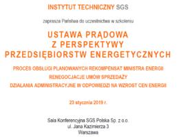 Ustawa prądowa szkolenie dla przedsiębiorstw energetycznych