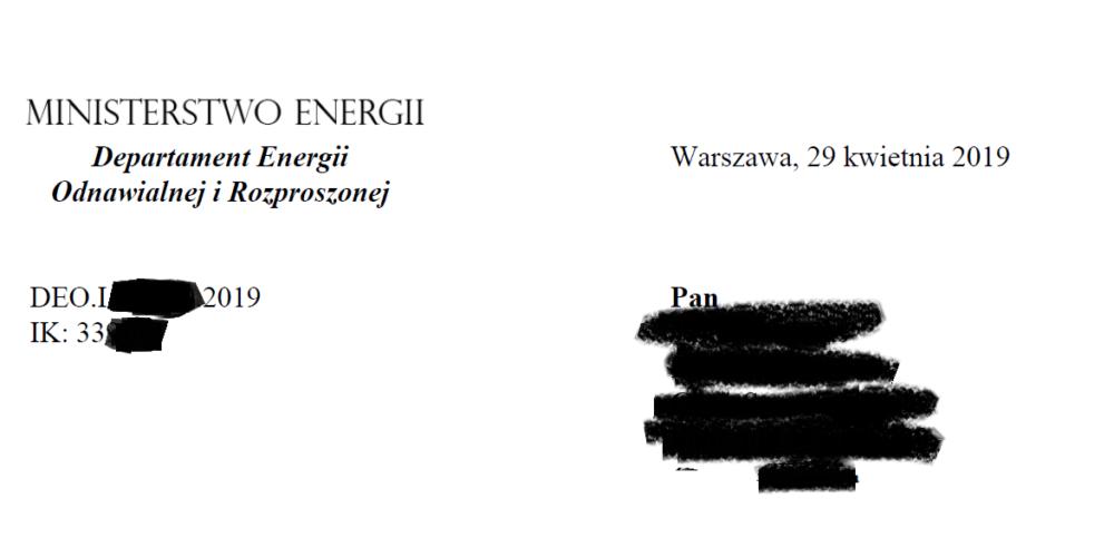 Korzystne stanowiska Ministerstwa Energii dla naszego Klienta