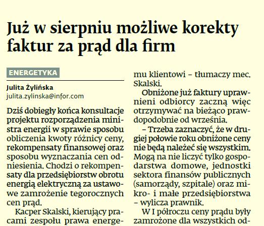 Kacper Skalski dla Dziennika Gazeta Prawna o korektach faktur dla odbiorców energii na podstawie ustawy prądowej