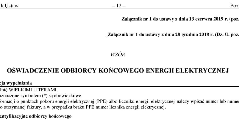 Oświadczenie mikro i małych przedsiębiorstw zapobiegające podwyżkom cen energii