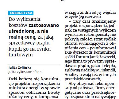 Kacper Skalski dla Dziennika Gazeta Prawna o niepełnych rekompensatach na podstawie ustawy prądowej