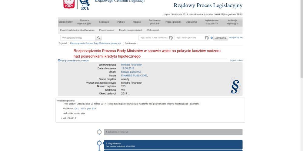 Opublikowano projekt nowego rozporządzenia w sprawie wpłat na pokrycie kosztów nadzoru nad pośrednikami kredytu hipotecznego