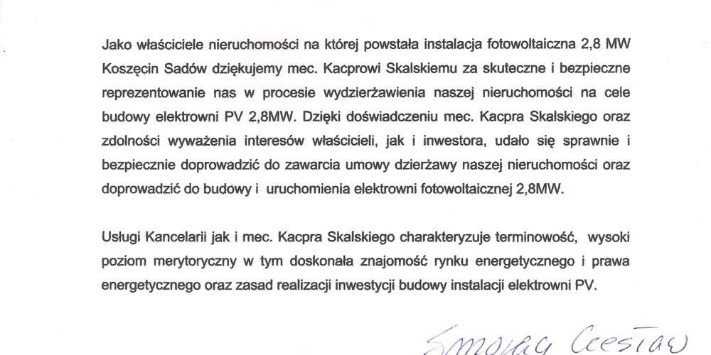 Doradzaliśmy przy umowie dzierżawy pod elektrownię fotowoltaiczną 2,8 MW