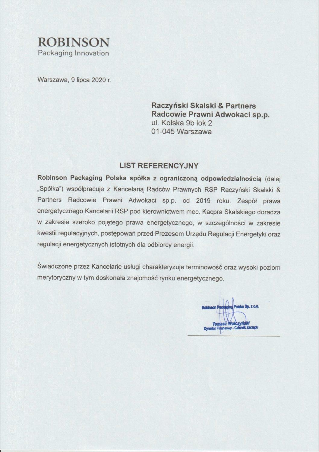 Referencje prawo energetyczne Robinson Packaging Polska sp. z o.o.