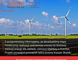 Doradzaliśmy przy zawarciu kolejnej wieloletniej umowy sprzedaży zielonej energii