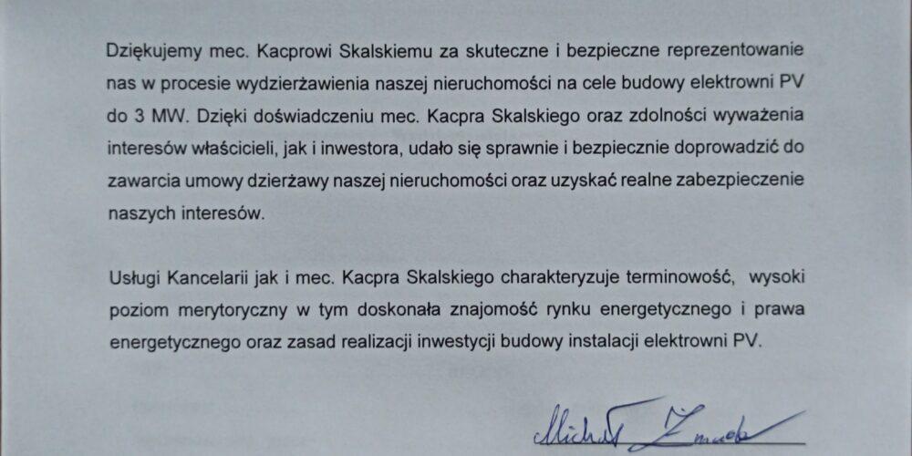 Doradzaliśmy przy zawarciu jednej z największych w Polsce umów dzierżawy nieruchomości pod elektrownię fotowoltaiczną